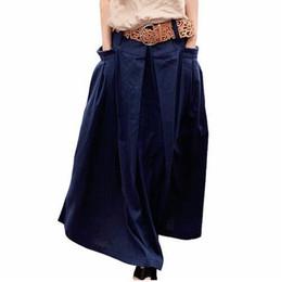 a85879e9d2385 Qaturalan Women Linen Long Summer Skirt 2018 Saia Solid Faldas Skirt Maxi Women  Big Pockets High Waist Pleated Casual Skirts S916