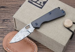 Wholesale Imported Knives - Mini Strider SMF knife Imported Swedish powder Damascus steel Titanium handle EDC pocket tools Xmas gifts outdoor camping knives