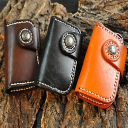 Wholesale handmade leather wallets - Fashion Handmade Portable Genuine Cowhide Leather Car Keychain Key Bag Cards Pouch Bag Multifunction Wallet Support FBA Drop Shipping H22F