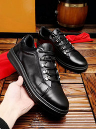 Wholesale Jogging Accessories - Personality luxury brand men designer shoes black genuine leather with top quality all accessories man running casual shoes for wholesale