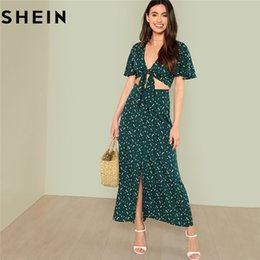 d46f7df56ed3 SHEIN Green Boho Floral Print V Neck Women Two Piece Set Outfits 2018 Summer  Vacation Bell Sleeve Knot Tops And Button Up Skirt