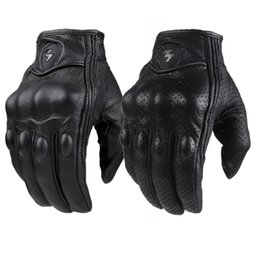 Wholesale leather race gloves motorcycle - Moto Racing Gloves Leather cycling gloves Perforated Leather Motorcycle Gloves black color M L XL size