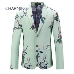 Wholesale tuxedos for men green - Mens green suit Men's jacket Suitable for singers to perform menswear Casual suits for men High quality Chinese style floral print