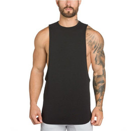 Chalecos musculares hombres online-chaleco Camisetas sin mangas GAIN gimnasios ropa culturismo largueros gimnasios camiseta sin mangas de fitness camisa de algodón sin mangas chaleco muscular para hombres
