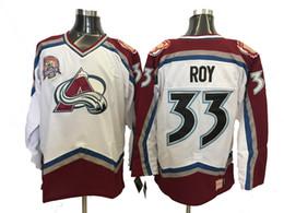 camiseta de hockey 33 Rebajas Vintage Colorado Avalanche Patrick Roy Camisetas de hockey Blanco 00-01 Season Home Vintage # 33 Patrick Roy Jersey con parche de la Copa Stanley 2001