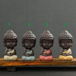 Decorazioni per la casa Set da tè Carino Piccola Statua di Buddha Monk Figurina Mandala Tè Pet Resina Artigianato Ornamenti decorativi Grafts K021 da