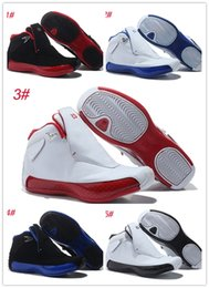 Wholesale 18 thread - 2018 high quality 18 man basketball shoes red Black blue sport shoes Breathable Sneakers wholesale Trainers sport shoes 41-47
