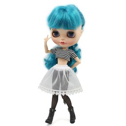 Wholesale Yarn Dolls - Free shipping for icy blyth doll licca cool outfit short shirt black leggings underwear Yarn skirt 1 6 30cm gift toy