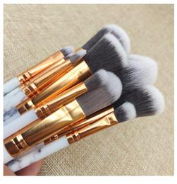 Lidschatten lippen online-Kabuki Pinsel 10 Teile / satz Professionelle Make-Up Pinsel Marmor Griff Lidschatten Augenbraue Lippenauge Make-Up Pinsel Comestic Werkzeug