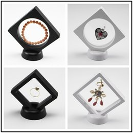 Wholesale jewelry holder stand for rings - 10.8*10.8cm Black White Floating Suspended Display Case Coins Gems Artefacts Stand Holder Jewelry Box for Rings