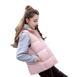Wholesale duck collection - 2017 new collection women autumn winter jacket short thick warm ladies vest parka cotton wadding female slim waistcoat ZL537
