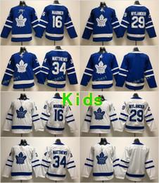 Wholesale kids blanks - Youth Toronto Maple Leafs #34 Auston Matthews Jerseys Kids 29 William Nylander 16 Mitch Marner Blank Blue White Hockey Stitched