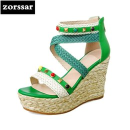 Wholesale rope spools - {Zorssar} 2018 New Fashion hemp rope Women Wedges Sandals Summer Shoes Women Open Toe High Heels Sandals Female Dress shoes