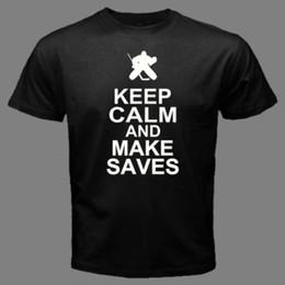 Сохраняйте спокойствие и сделать сохраняет хоккей вратарь оборудование смешные колодки палку футболку КЧ от