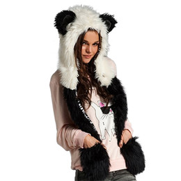 New 2016 Women's Winter Hat Warm Flush Caps Faux  Fur Animal Ears Hat Long Scarf And Gloves Set With Pocket Women's от