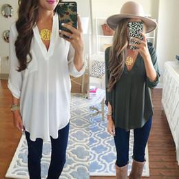 Vendita estiva di maternità online-VENDITA CALDA Camicetta in chiffon con scollo a V di maternità moda estiva camicie bianche casual larghe magliette in tinta unita per donne incinte