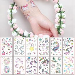 falsi tatuaggi rosa Sconti 12 * 7.5 cm INS Impermeabile adesivi tatuaggio temporaneo falso rosa unicorno cavallo del fumetto bambini bambini body art trucco strumenti 25 stili C5497