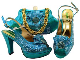 Wholesale Gold Shoes Matching Bag - Lady wedding Ladies party high heels 10.5cm African Nigerian style shoes matching bags set Italian Shoes and Bag Set