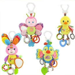 Wholesale cute bedding - Cute butterfly rabbit duck bird baby kids stroller bed around hanging bell rattle activity soft toy outer baby plush toy