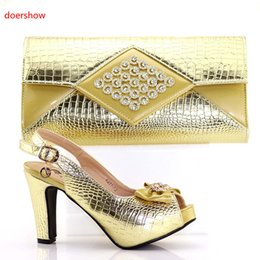 Wholesale print red dresses for evening - gold color Italian Matching Shoes With Bag Set For Evening Party African Women Sandal And Bag Set For Free Shipping Size 38-42 ! AB1-7