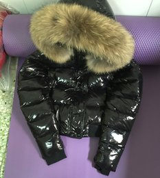 Wholesale Real Clothes Brand - winter classic brand design glossy parka women jackets white duck down coats Female Clothes real raccoon fur collar hood short jacket S-XL