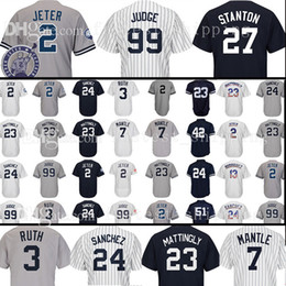 Wholesale blue don - 2018 new mens adult 99 Aaron Judge New York 27 Jersey 23 Don Mattingly 2 24 3 Ruth 7 Mantle Rivera Williams Jerseys