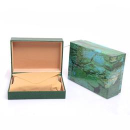 Cajas de madera para hombres online-Envío de la gota de lujo para hombre para la caja de reloj verde de madera interior de la mujer Relojes cajas de reloj de pulsera de los hombres envío gratis