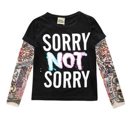 Wholesale Baby Girl Tattoos - 2018 Boy Clothes Cotton T-shirt Long Sleeve Children Hip Hop Tee Shirts Novelty Tattoo Sleeve Baby Girl Tops Spring&autumn KidsTop