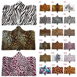 Animale a tema online-Coperte con cappuccio stampa leopardo Bambini adulti Sherpa mantello animale pelliccia con cappuccio a tema coperta 3D stampa scialli in pile di alta qualità ZYL11-13