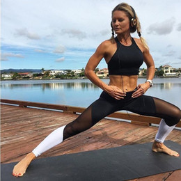 Wholesale black stockings leggings - Four Seasons sport yoga pants Women Leggings openwork perspective stitching sports fitness gym running sexy pants Leggings in stock black  w