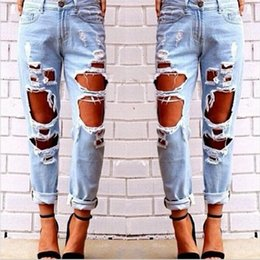 80586e16ef0c Wholesale- New Hip Hop Hole Denim Jeans Boyfriend Star Tearing Jeans Cowboy Trousers  Ripped Pants Female Sexy Girls 2016 Hot Sale
