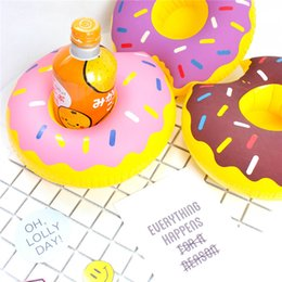 Wholesale green float glass - Best Sellers Doughnut Cup Holder Inflatable Drink Coaster Summer Beach Lovely Toy Originality Portable Float Water Cups Pad 1 1xr W