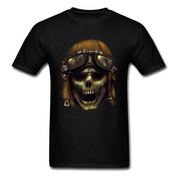 Parte superior do punk dos meninos on-line-ZED HEADZ Fly Boy Retro Crânio Imprimir Nova Marca dos homens T-shirt de Manga Curta Funky Punk Top Tee Preto Personalizado