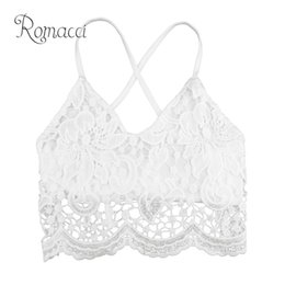 2fc7aebc6aaa5 Romacci Plus Size 5XL Sexy Crop Top Donna Crochet Lace Deep V Neck  Spaghetti Strap Summer Casual Canotte Backless Camisole Bra