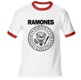 Camisetas de punk rock de la vendimia online-Vintage Ramones Retro Logo American Punk Rock Band Music Tour Biker camiseta hombre Cotton Raglan Sleeve tees top