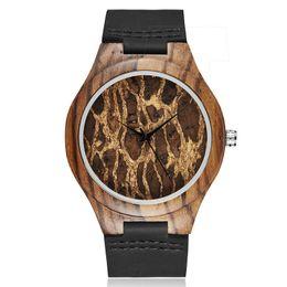 Мужские часы из черного дерева онлайн-Творческие Мужские Черные Кожаные Деревянные Часы Уникальный Простой Дизайн Моды Стильные Деревянные Наручные Часы Мужчины Часы relogio masculino Подарки