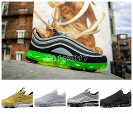 Wholesale Elastic For Beading - 2018 vapormax 97 Silver Black Pink White Green OG Running Shoes For men women new japan Vapormaxes Hybrid sports shoes size36-46 WITH BOX