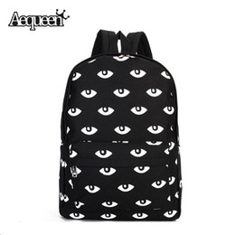 Wholesale bookbags women - Wholesale- AEQUEEN Fashion Women Men Unisex Big Eyes Pattern Canvas Backpack For Girls Cute Rucksack Casual Student School Bag Bookbags