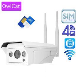 Telecamera esterna wireless iphone online-OwlCat Full HD 1080P 960 P HD IP Camera Wireless GSM 3G 4G SIM Card Wifi IP impermeabile per esterni iPhone Android