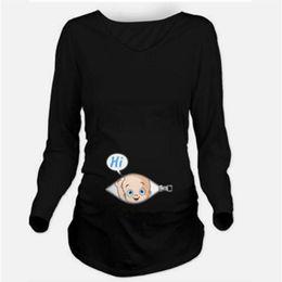 Wholesale Pregnancy Plus - Autumn Maternity T-shirts Tees Women Cute Maternity Clothes Tops Funny Pregnancy Long Sleeve T shirts Pregnant Women Plus Size