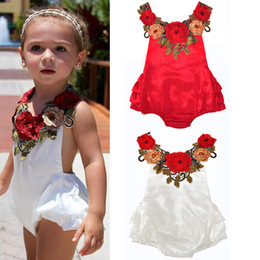 Wholesale White Lace Suspenders - Girls Jumpsuits Embroidered Flowers Baby Girls Rompers Suspenders Lace-up Split Joint Floral Jumpsuit Cotton Summer Spring Autumn 0-24M