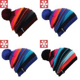 gorro de lana tejido a mano Rebajas Nuevo Invierno Espesar Gorro Tejido Cálido Moda Rayas Gran Bola Accesorios de Sombrero de Lana Tejidos a Mano Cálido Sombrero de Esquí Para Mujeres