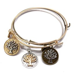 Wholesale push jewelry - Fashion Jewelry Retro Tree Of Life Bracelets Wire Ring Push-Pull Bracelet Punk Wind Bracelet Mother'S Souvenir Hand Pendant Free DHL G913R
