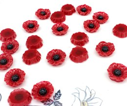Wholesale Bright Horn - 200pcs medium 2 tone hand paint bright red crimson Poppy Cabochon Resin flower 19mm with black heart