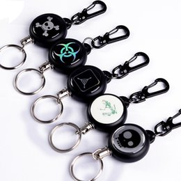 Wholesale Retractable Carabiner - TAD Steel Rope Burglar Tool Belt Money Retractable Key Recoil Ring Pull Chain Clip Keychain key Chain Chaveiros