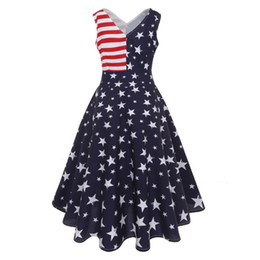 fbf6fa56ca9 2018 New Arrival summer dress Elegant Women Vintage Sleeveless V Neck Flag  Printing Evening Party Prom Swing Dress Sexy vestidos