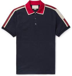 Maglietta a righe da uomo online-Polo Runway Light in cotone con t-shirt a righe da uomo Nuovo arriva design Italia polo contrasto polo g shirt uomo moda poloshirt