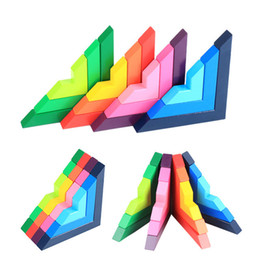 educational wooden toys for kids 2018 - High-quality Beech Wooden Colourful Blocks Kids Educational Learning Right Angle Building Blocks for Children Toys New