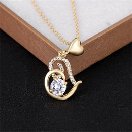 Wholesale Dr Charms - Gold Color Crystal Heart Pendant Necklace For Women Valentine's Day Gift of Love New Fashion Zircon Necklaces DR