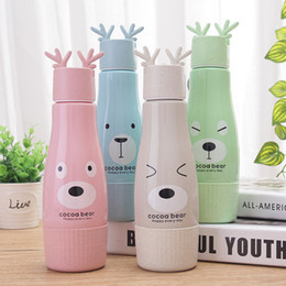 Wholesale Stainless Steel Storage Boxes - Christmas Deer Horn Glass Cup Portable Wheat Straw Water Bottle Cartoon Tumbler Phone Holder With Storage Box Many Styles 6 15zw C RY